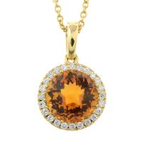 A rose-cut citrine and brilliant-cut diamond pendant with and 18ct gold chain.