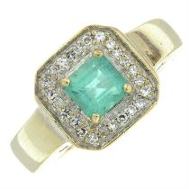 A 14ct gold emerald and diamond square-shape cluster ring.