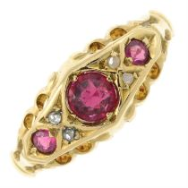 An early 20th century 18ct gold garnet topped doublet and rose-cut diamond ring.
