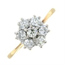 A 9ct gold old-cut diamond cluster ring.