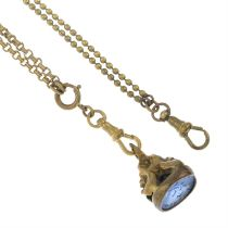 Two base metal longard chains together with a blue paste fob seal.