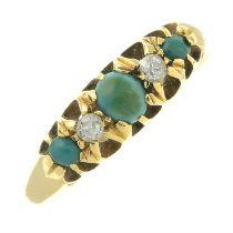 An Edwardian turquoise and old-cut diamond five-stone ring.