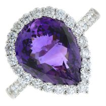 An 18ct gold amethyst and diamond pear-shape cluster ring.