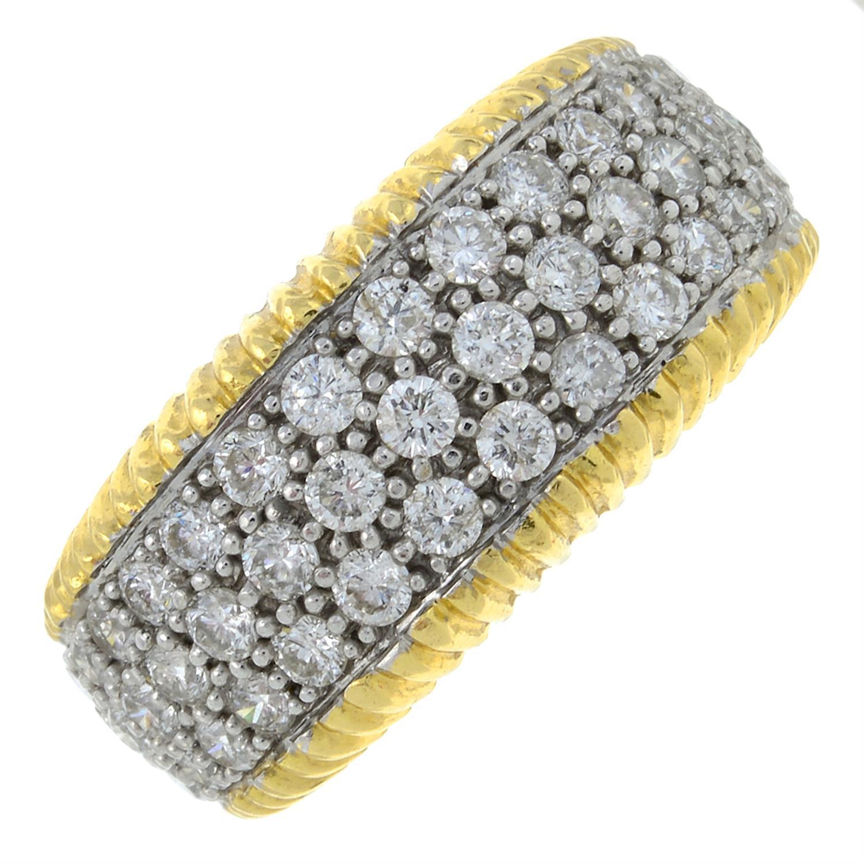 An 18ct gold diamond and 'blue' diamond bombe ring.