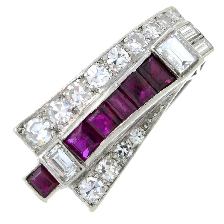 A 1940s platinum ruby and vari-cut diamond dress ring.