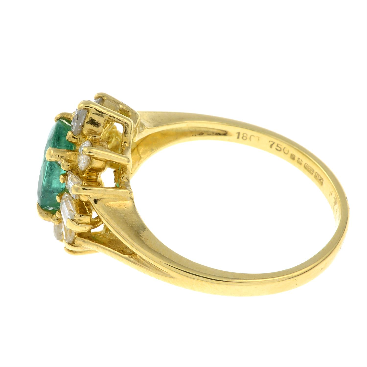 An 18ct gold emerald and vari-cut diamond cluster ring. - Image 2 of 3
