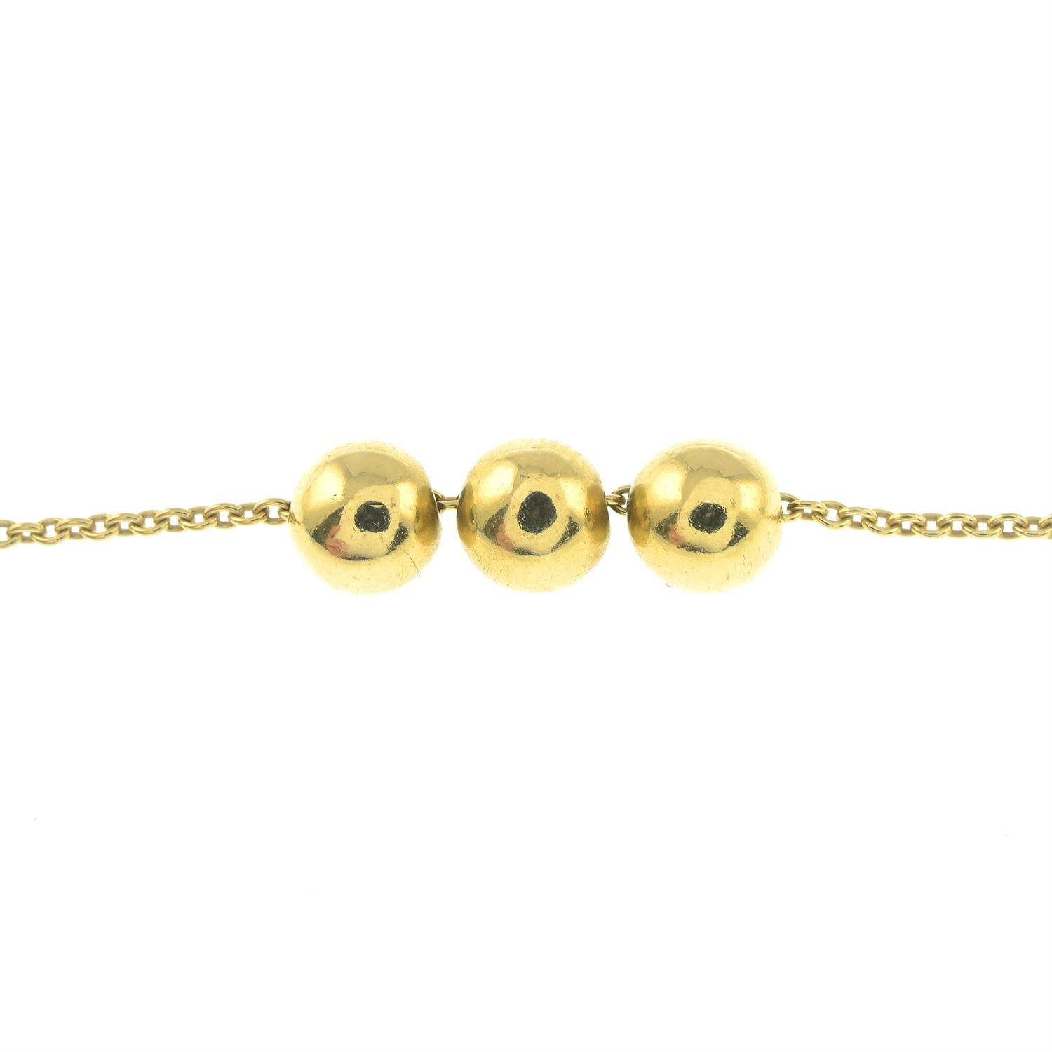 An 18ct gold necklace, with free-moving brilliant-cut diamond ball highlights, by Boodles & - Image 2 of 3