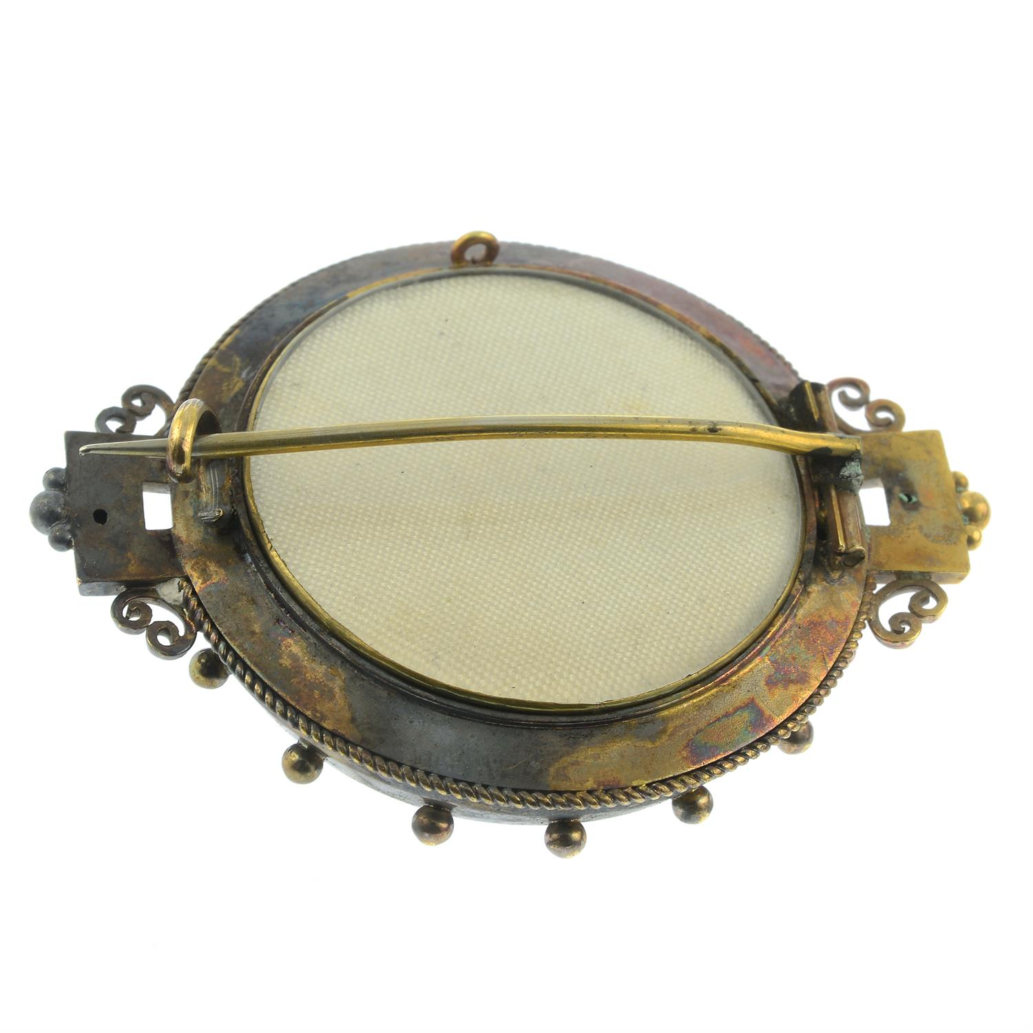 A late 19th century 18ct gold split pearl brooch. - Image 2 of 2
