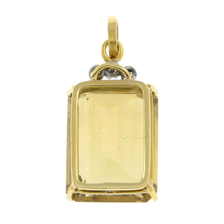 A citrine and diamond pendant. - Image 2 of 2