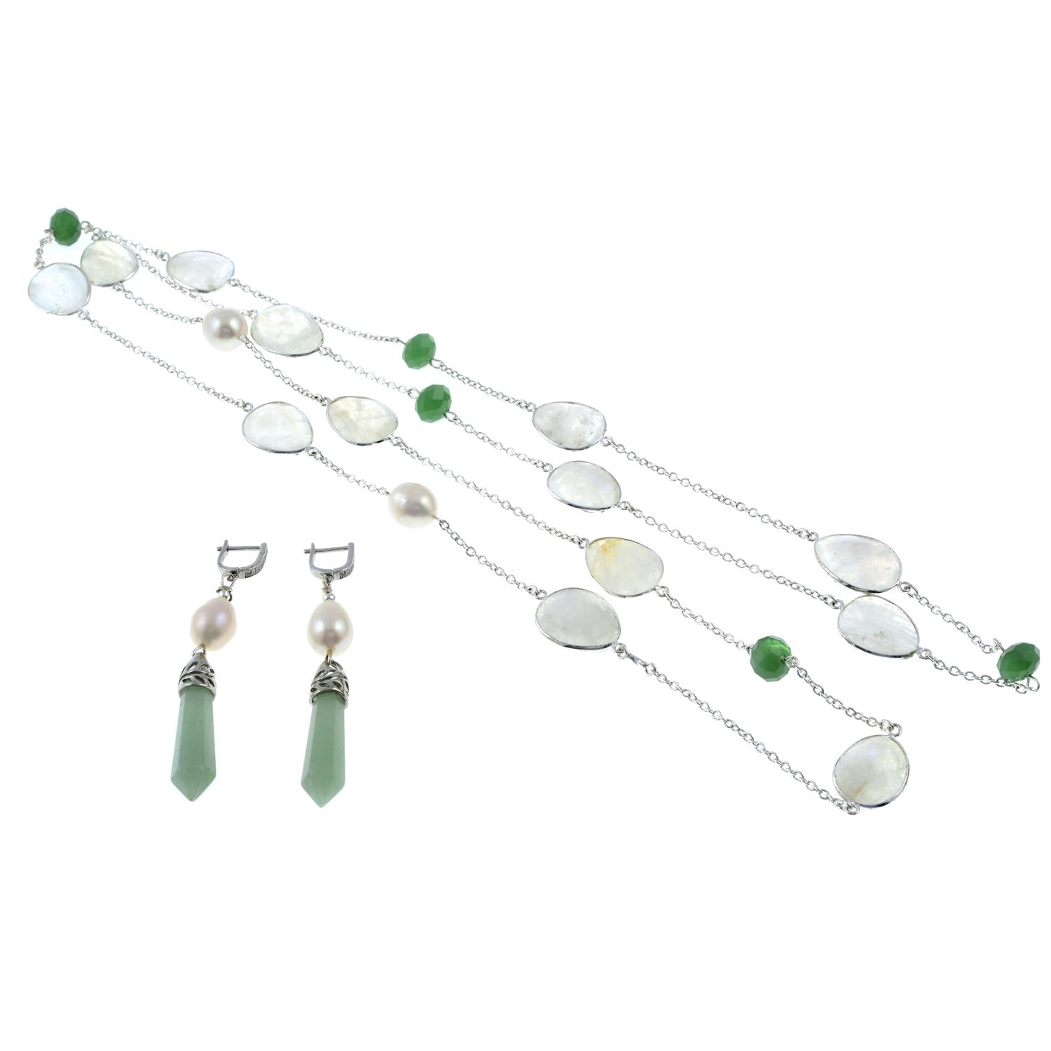 A moonstone and green quartz necklace, together with a pair of cultured pearl and jade drop - Image 2 of 2