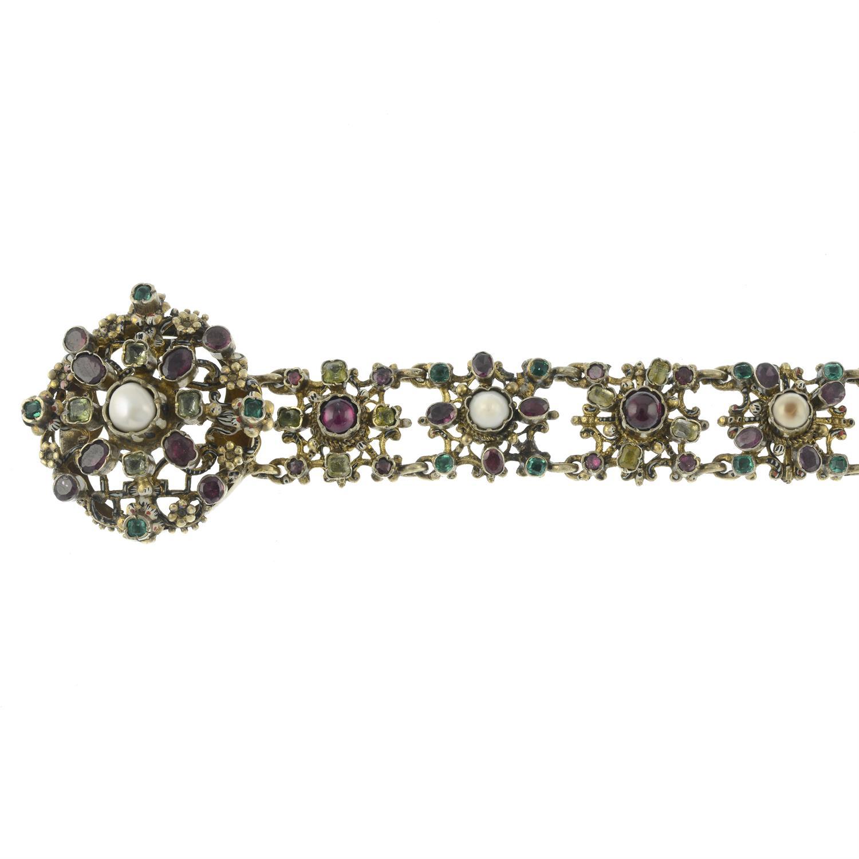 A late 19th century Austro Hungarian silver enamel and gem-set bracelet.