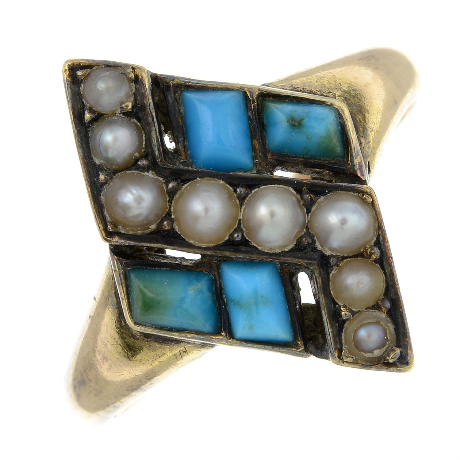 A late Victorian 15ct gold turquoise and split pearl ring.