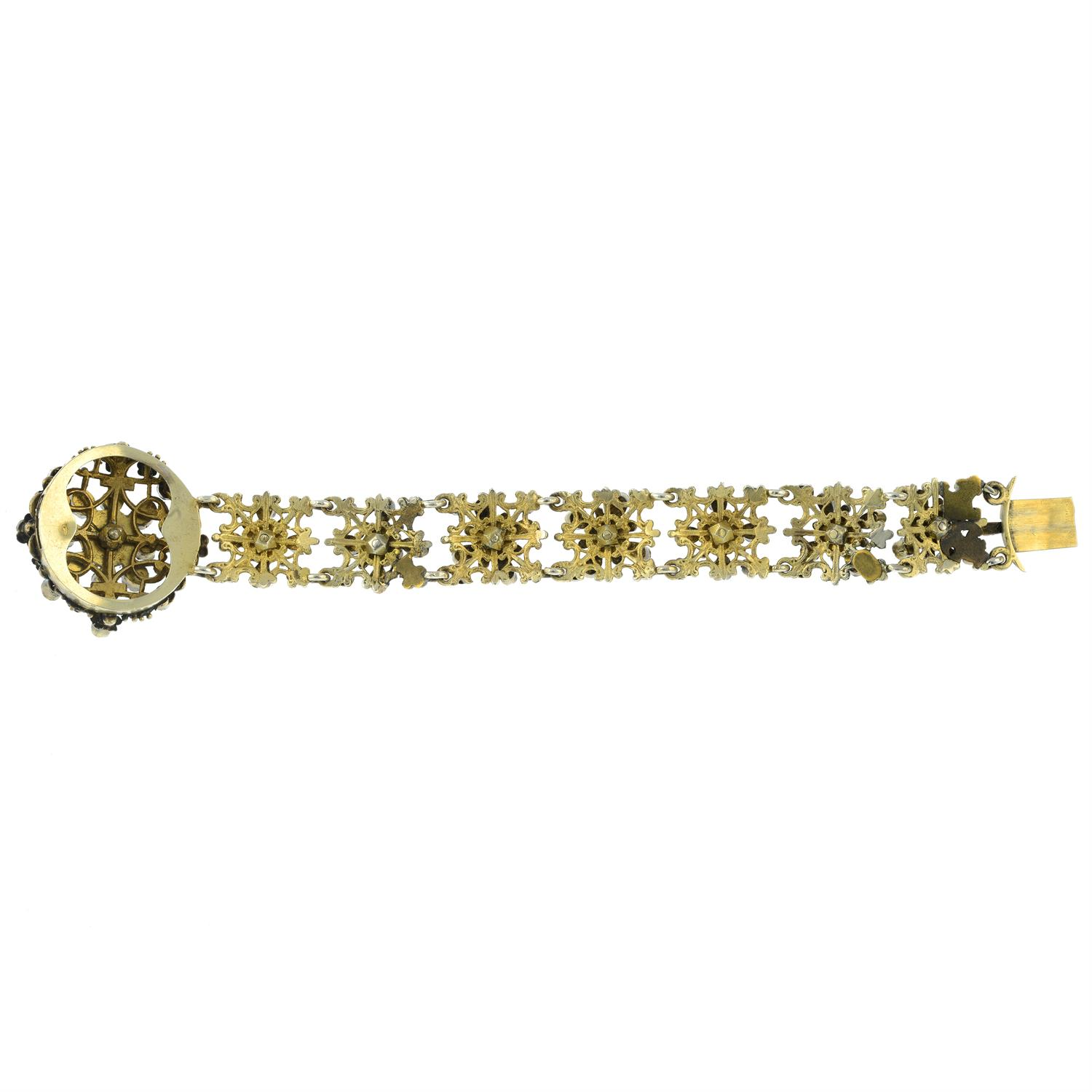 A late 19th century Austro Hungarian silver enamel and gem-set bracelet. - Image 3 of 5