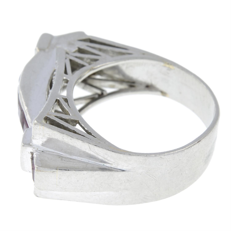 A 1940s platinum ruby and vari-cut diamond dress ring. - Image 2 of 3