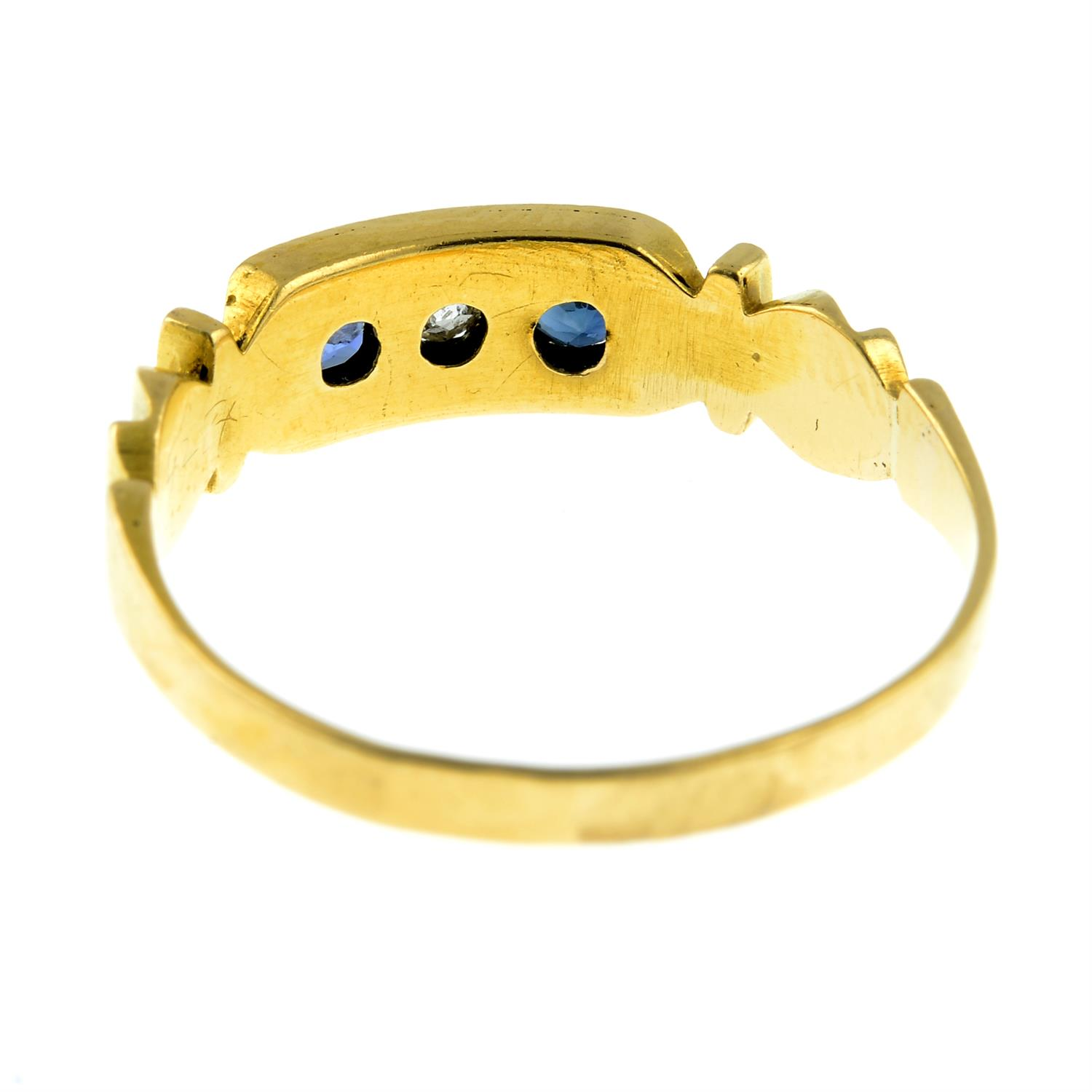 A late Victorian 18ct gold sapphire and diamond three-stone ring. - Image 3 of 3