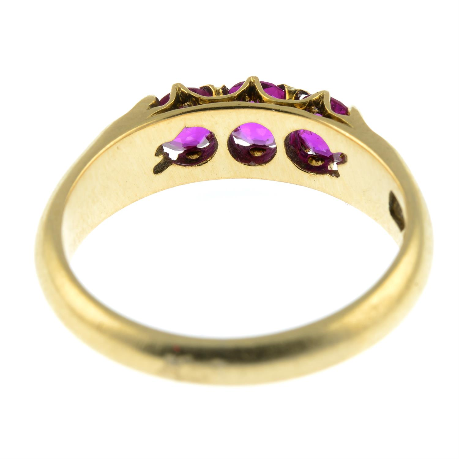 A ruby three-stone ring. - Image 3 of 3