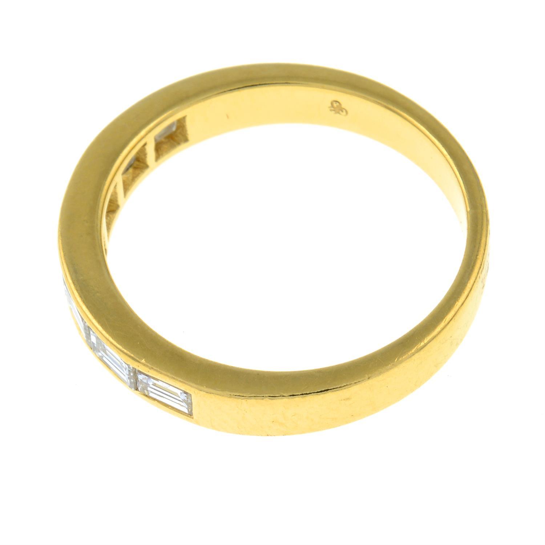 An 18ct gold rectangular-shape diamond half eternity ring. - Image 2 of 3