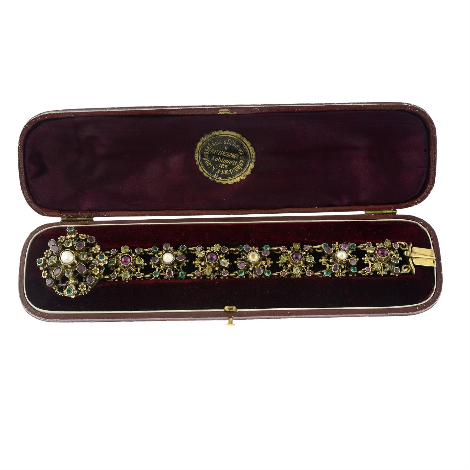 A late 19th century Austro Hungarian silver enamel and gem-set bracelet. - Image 4 of 5