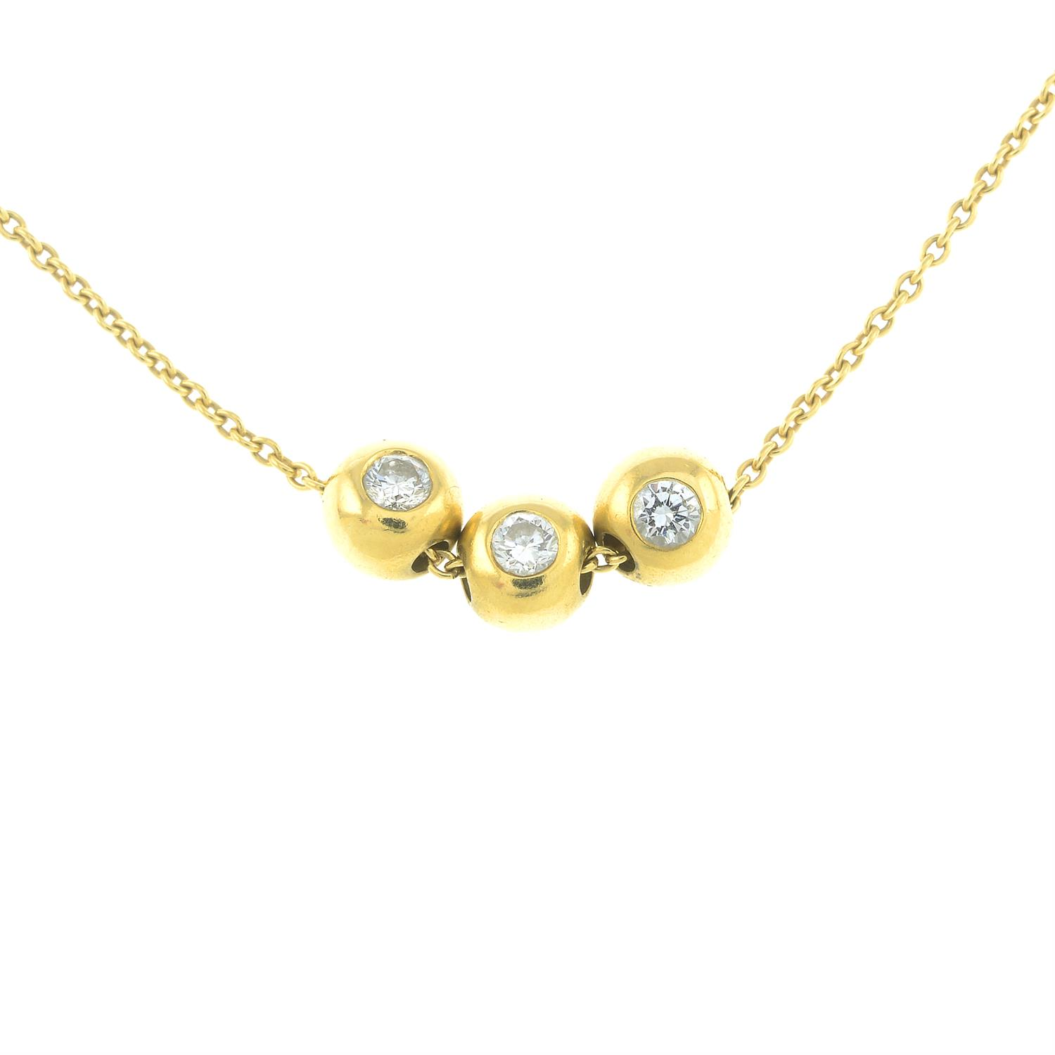 An 18ct gold necklace, with free-moving brilliant-cut diamond ball highlights, by Boodles &