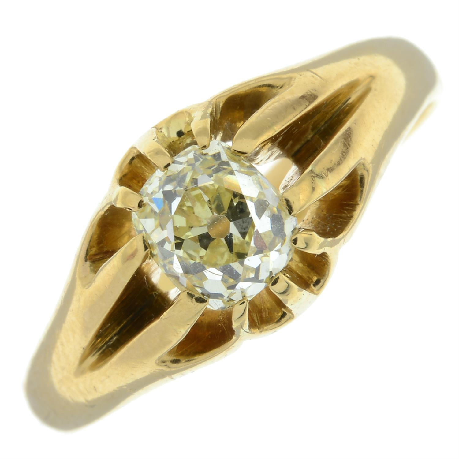 A late Victorian 18ct gold old-cut diamond single-stone ring.