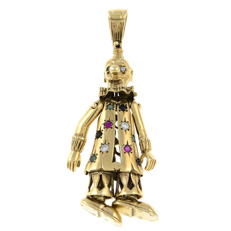 A 9ct gold gem-set clown pendant.