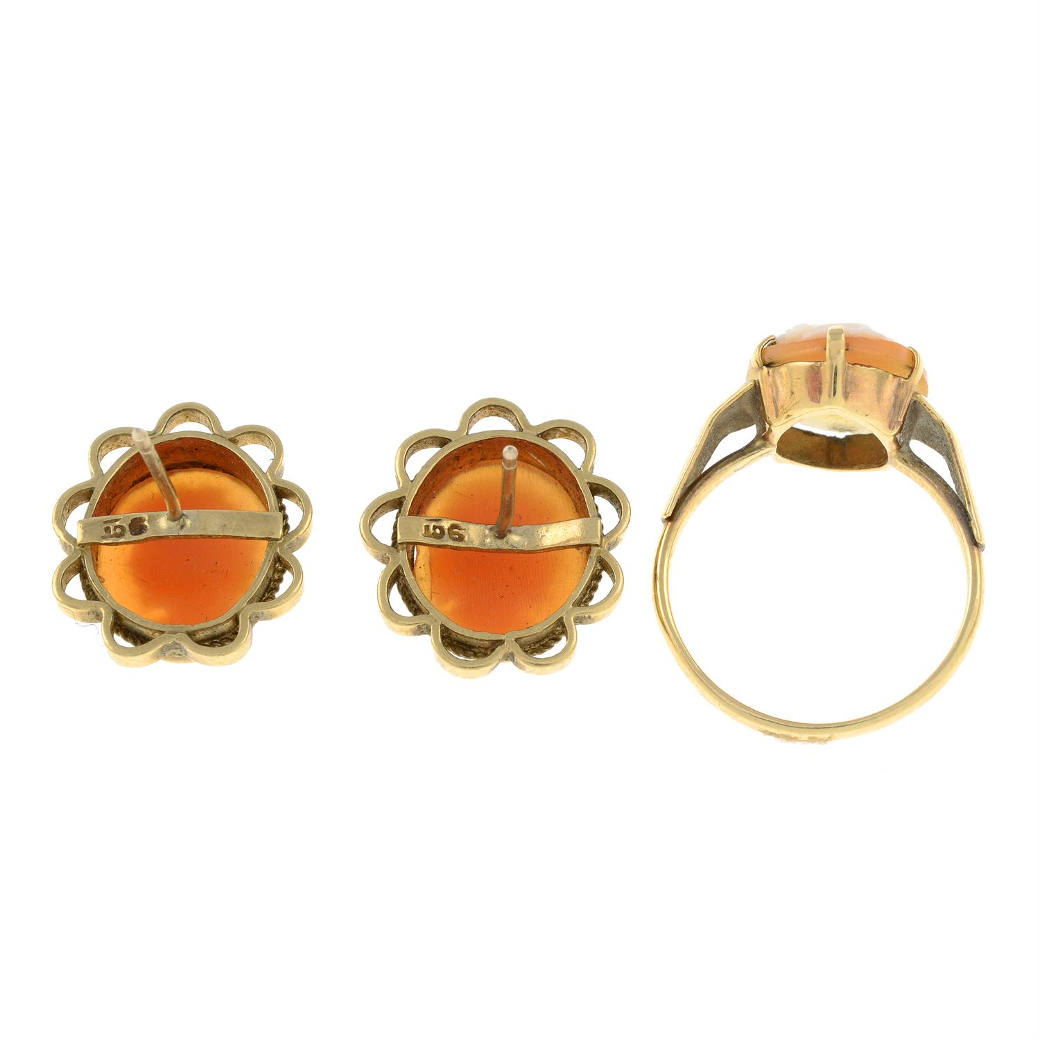 A 9ct gold shell cameo ring and stud earrings. - Image 2 of 2