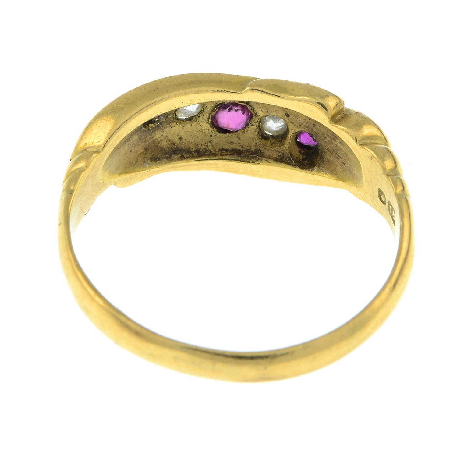 An early 20th century 18ct gold ruby and diamond five-stone ring. - Image 3 of 3
