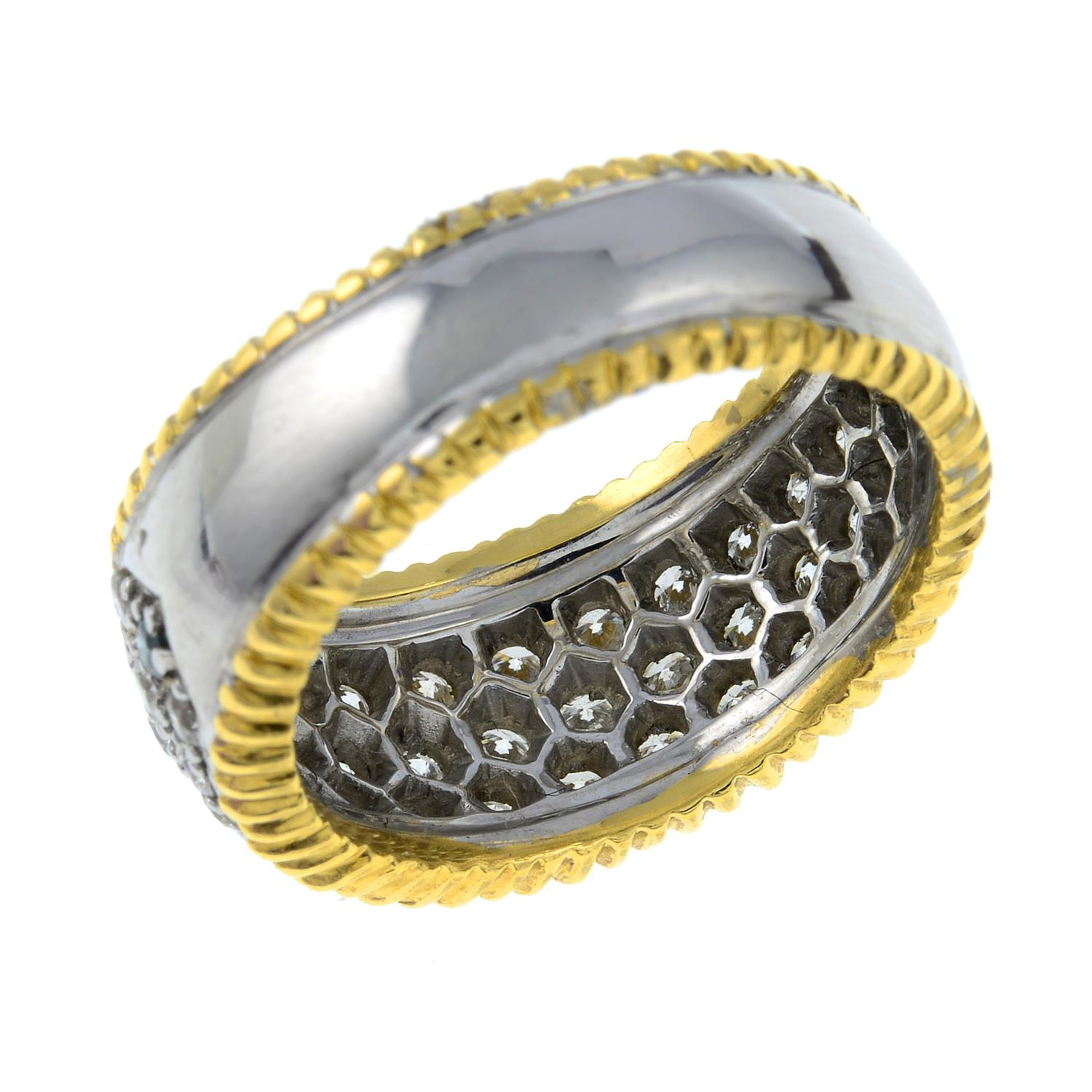 An 18ct gold diamond and 'blue' diamond bombe ring. - Image 3 of 3