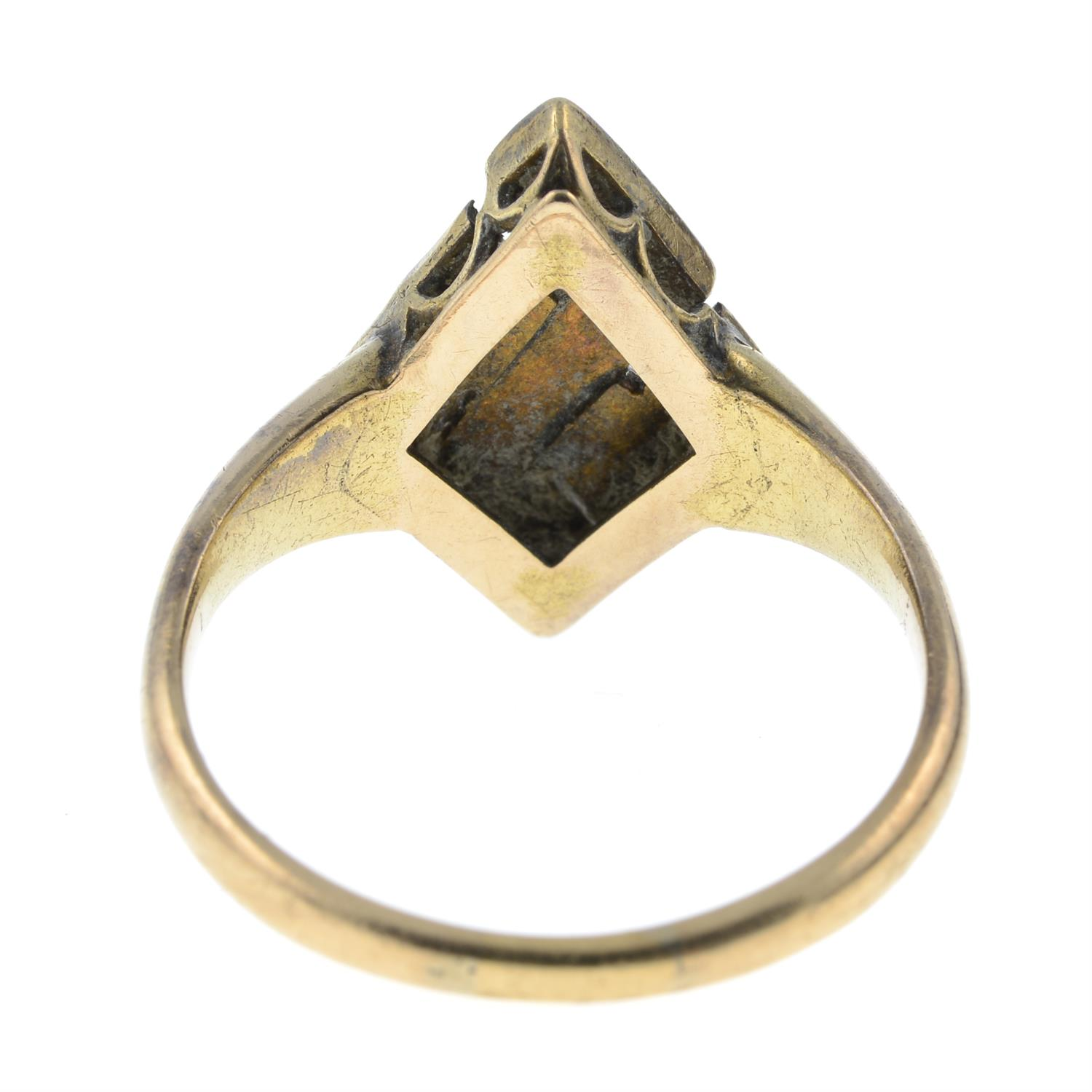 A late Victorian 15ct gold turquoise and split pearl ring. - Image 3 of 4
