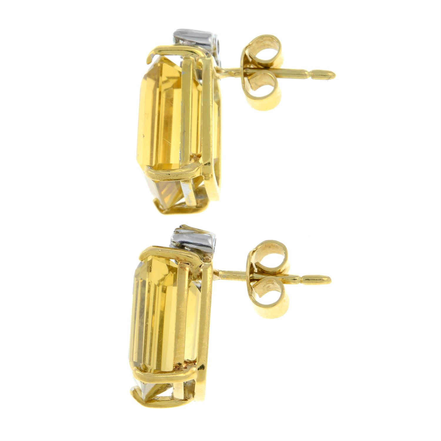 A pair of citrine and diamond earrings. - Image 2 of 2