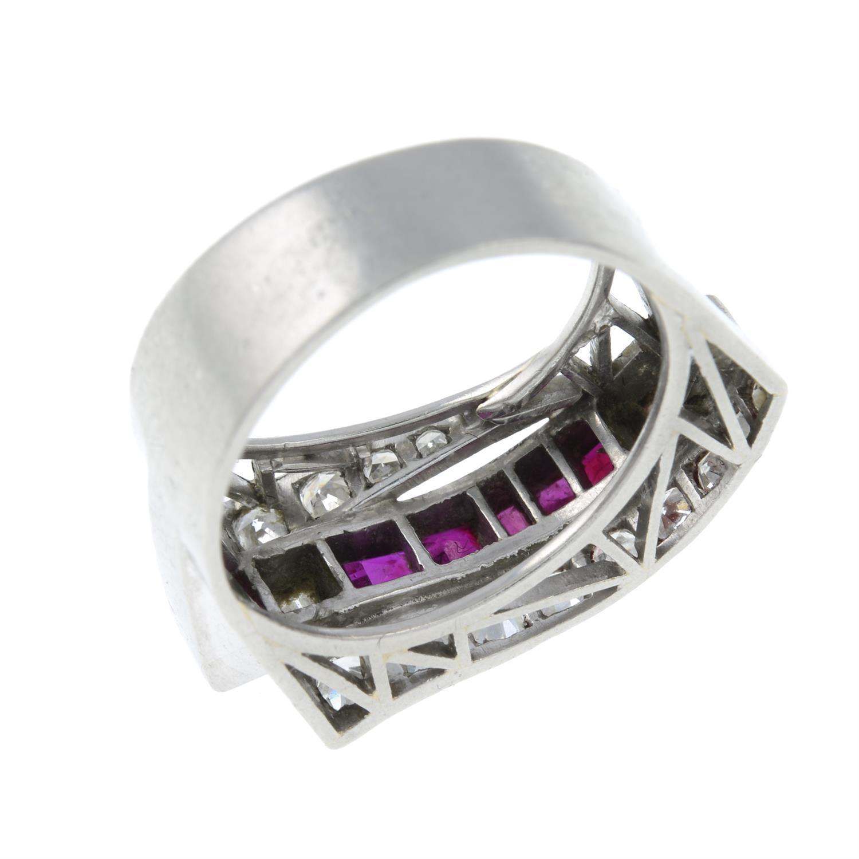 A 1940s platinum ruby and vari-cut diamond dress ring. - Image 3 of 3