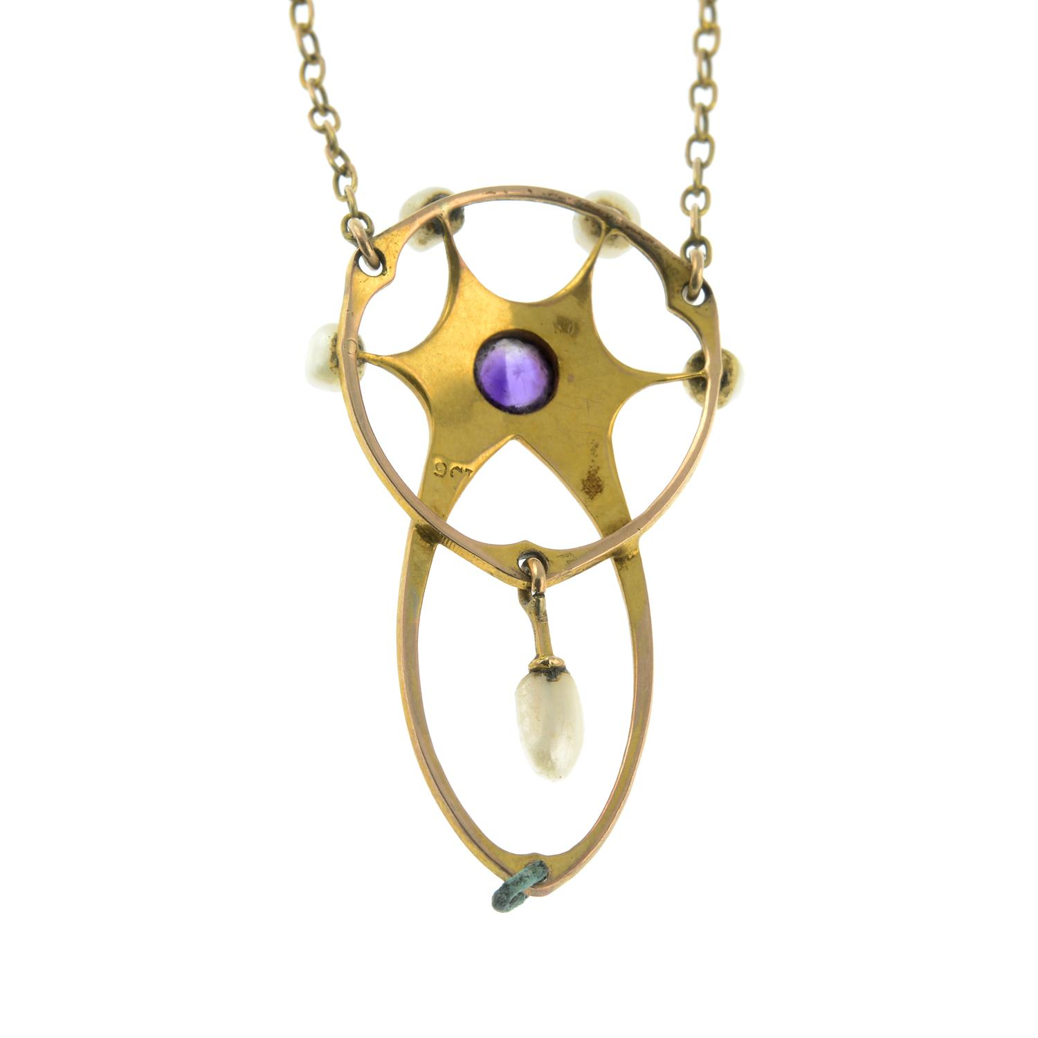 An early 20th century Art Nouveau 9ct gold amethyst and seed pearl necklace. - Image 2 of 3