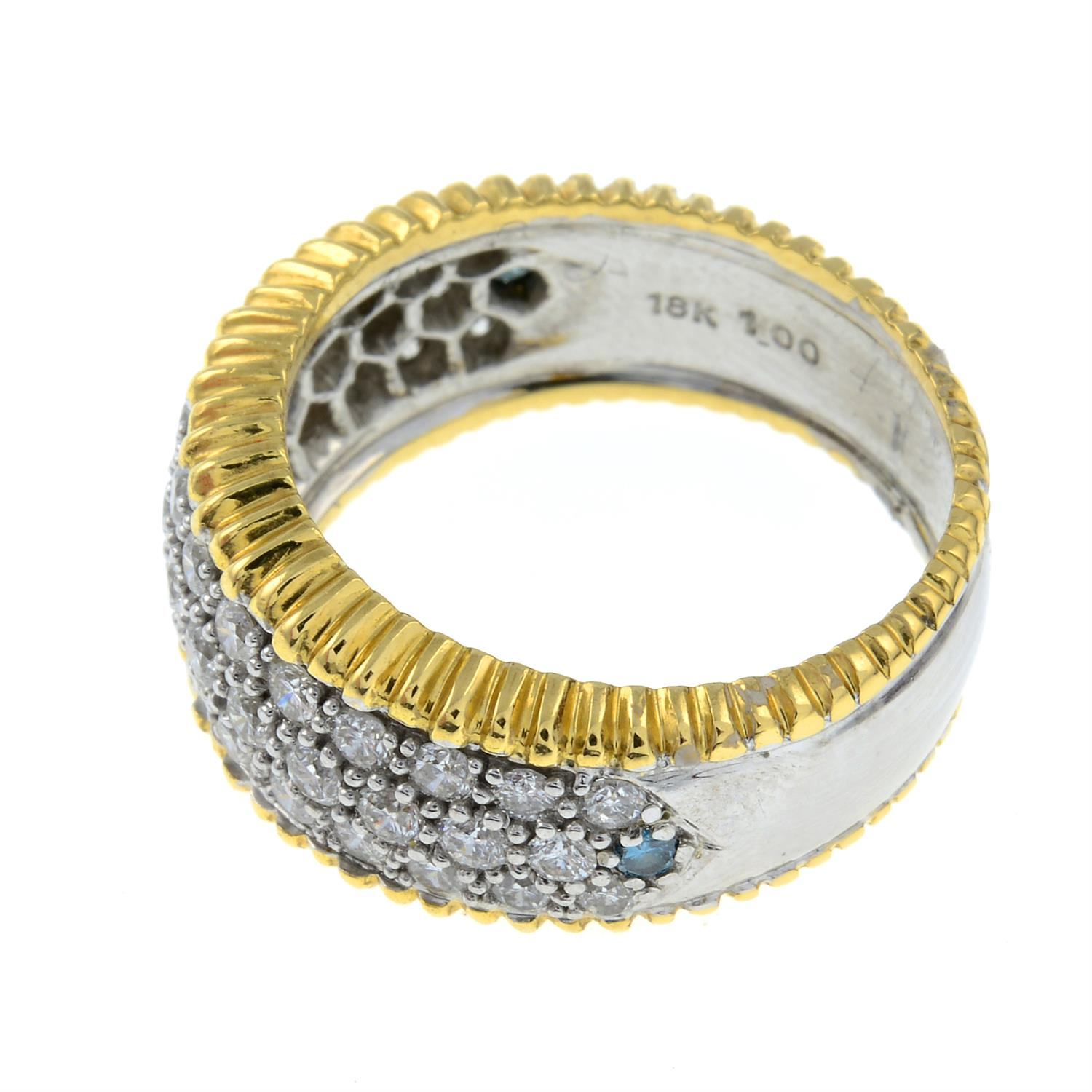 An 18ct gold diamond and 'blue' diamond bombe ring. - Image 2 of 3