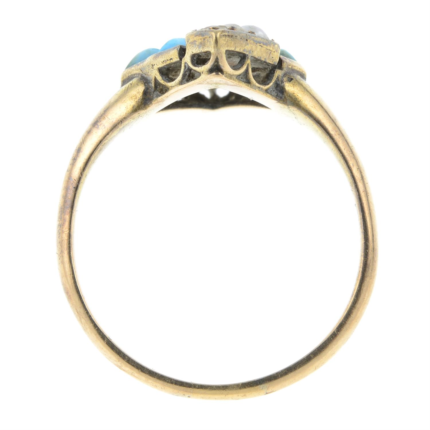 A late Victorian 15ct gold turquoise and split pearl ring. - Image 4 of 4