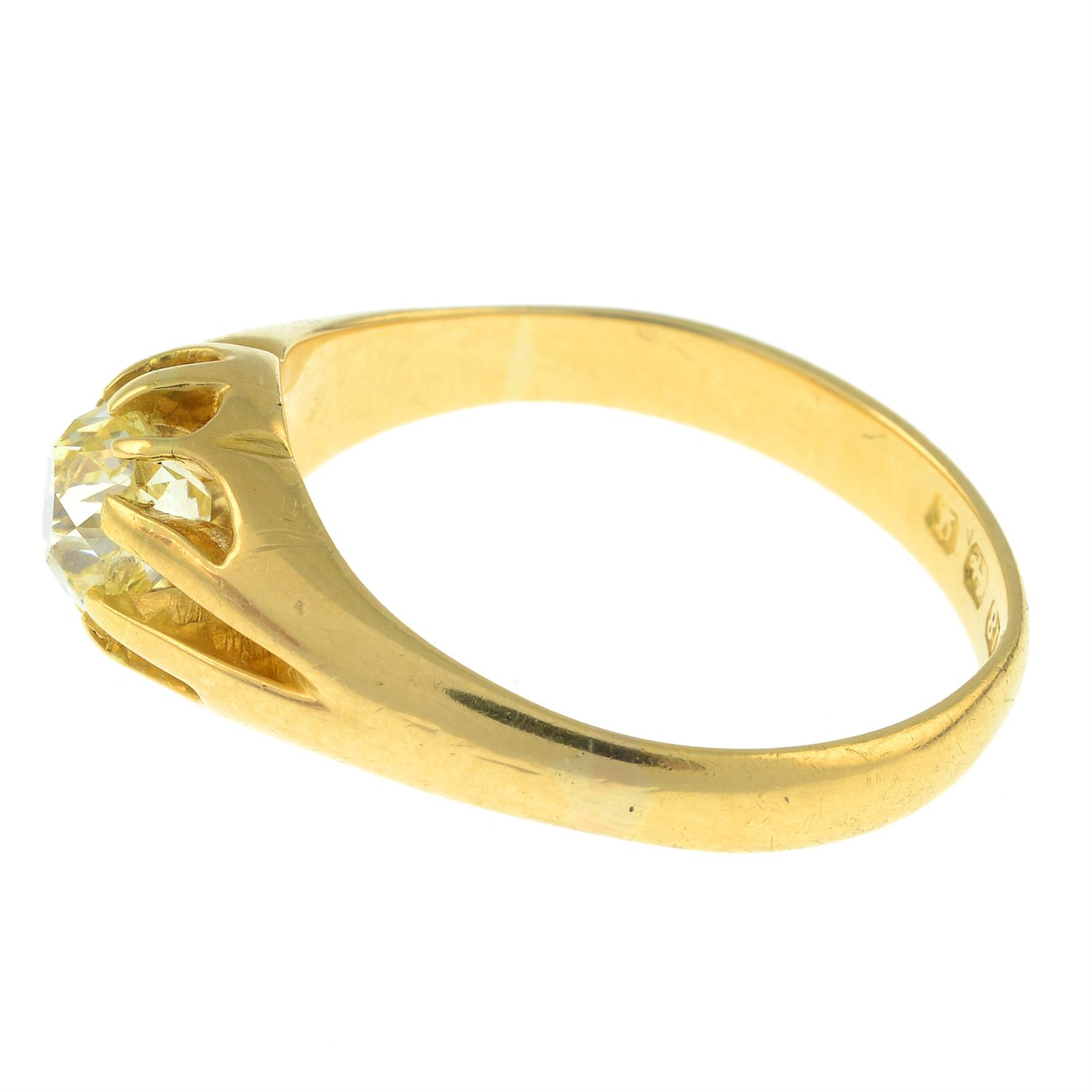 A late Victorian 18ct gold old-cut diamond single-stone ring. - Image 2 of 3