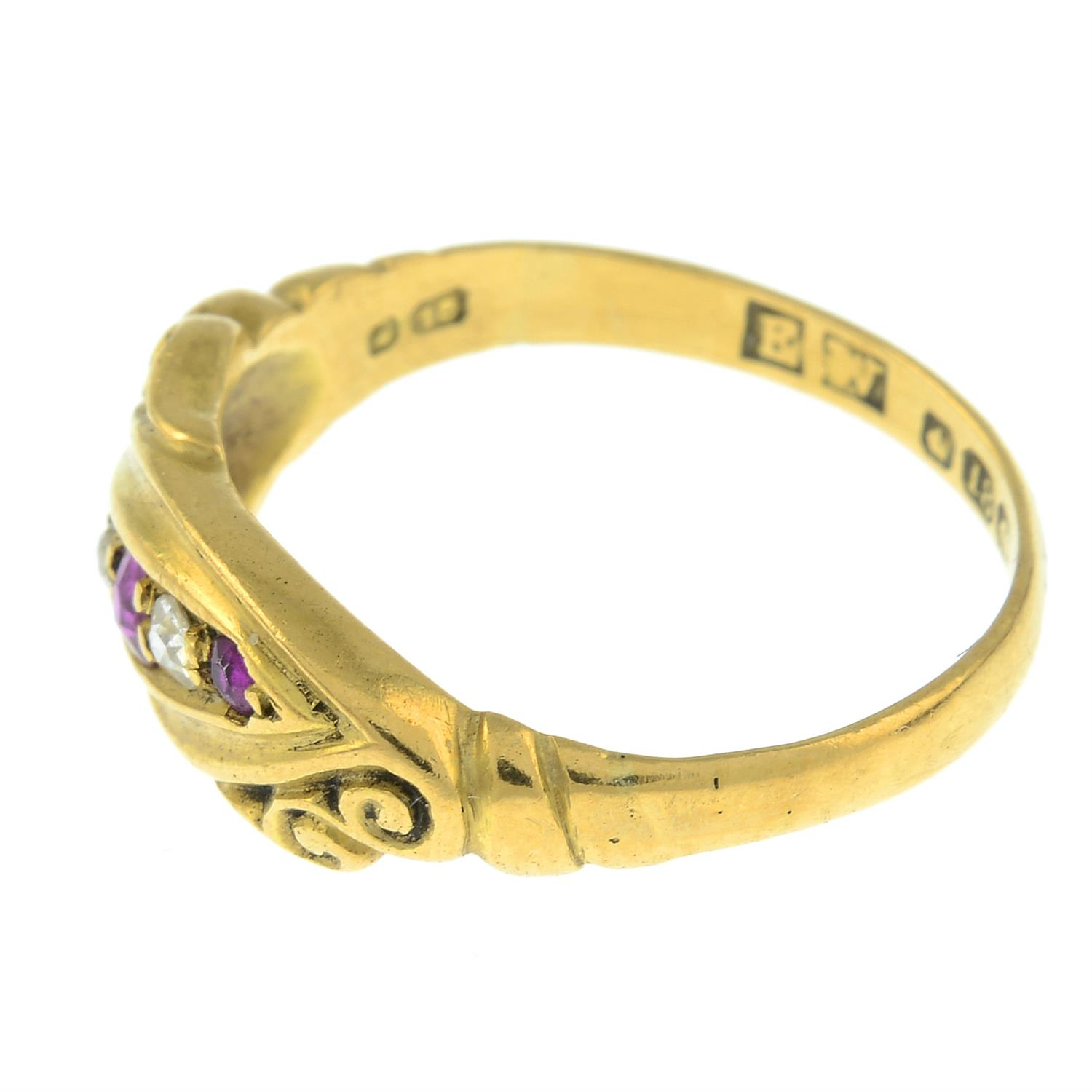 An early 20th century 18ct gold ruby and diamond five-stone ring. - Image 2 of 3