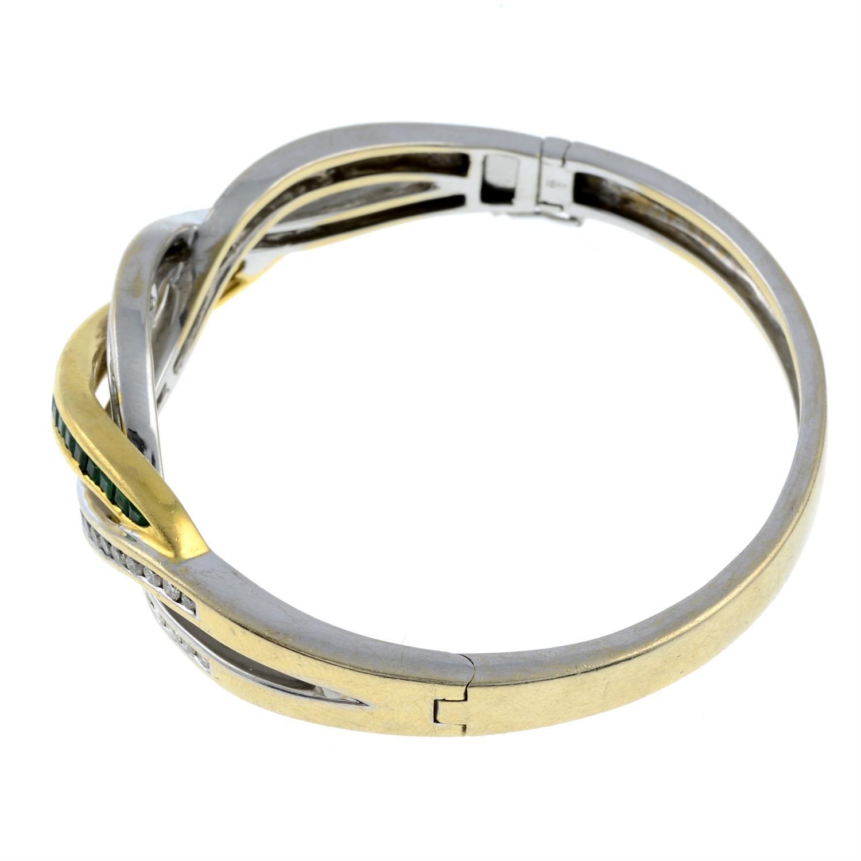 An emerald and diamond hinged bangle. - Image 2 of 3