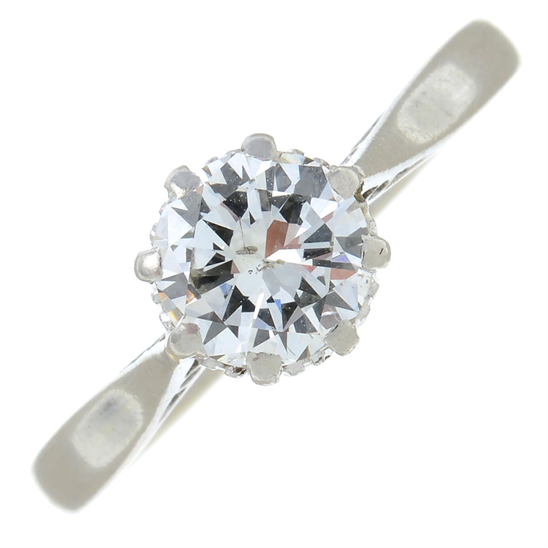 A brilliant-cut diamond single-stone ring.