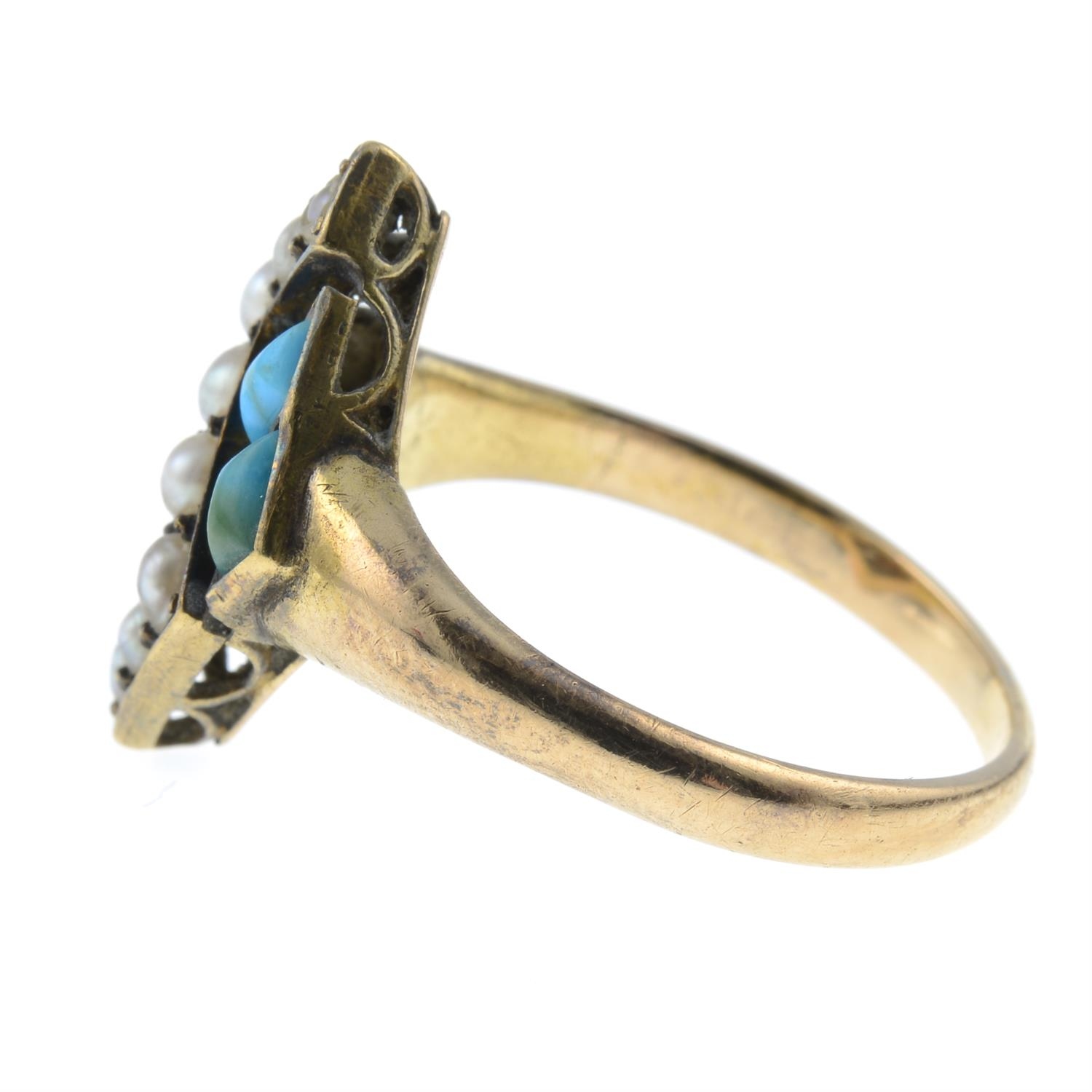 A late Victorian 15ct gold turquoise and split pearl ring. - Image 2 of 4