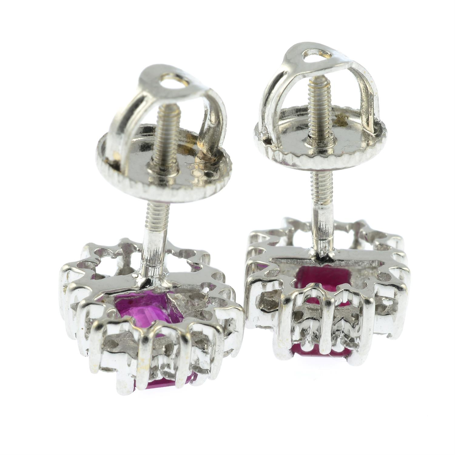 A pair of ruby and diamond cluster earrings. - Image 2 of 2