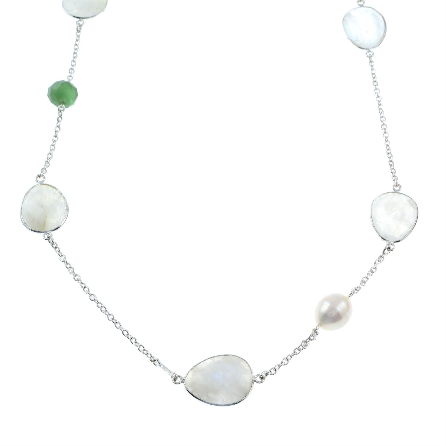 A moonstone and green quartz necklace, together with a pair of cultured pearl and jade drop