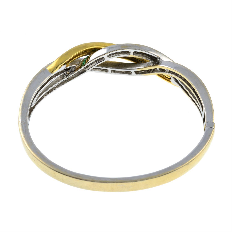 An emerald and diamond hinged bangle. - Image 3 of 3