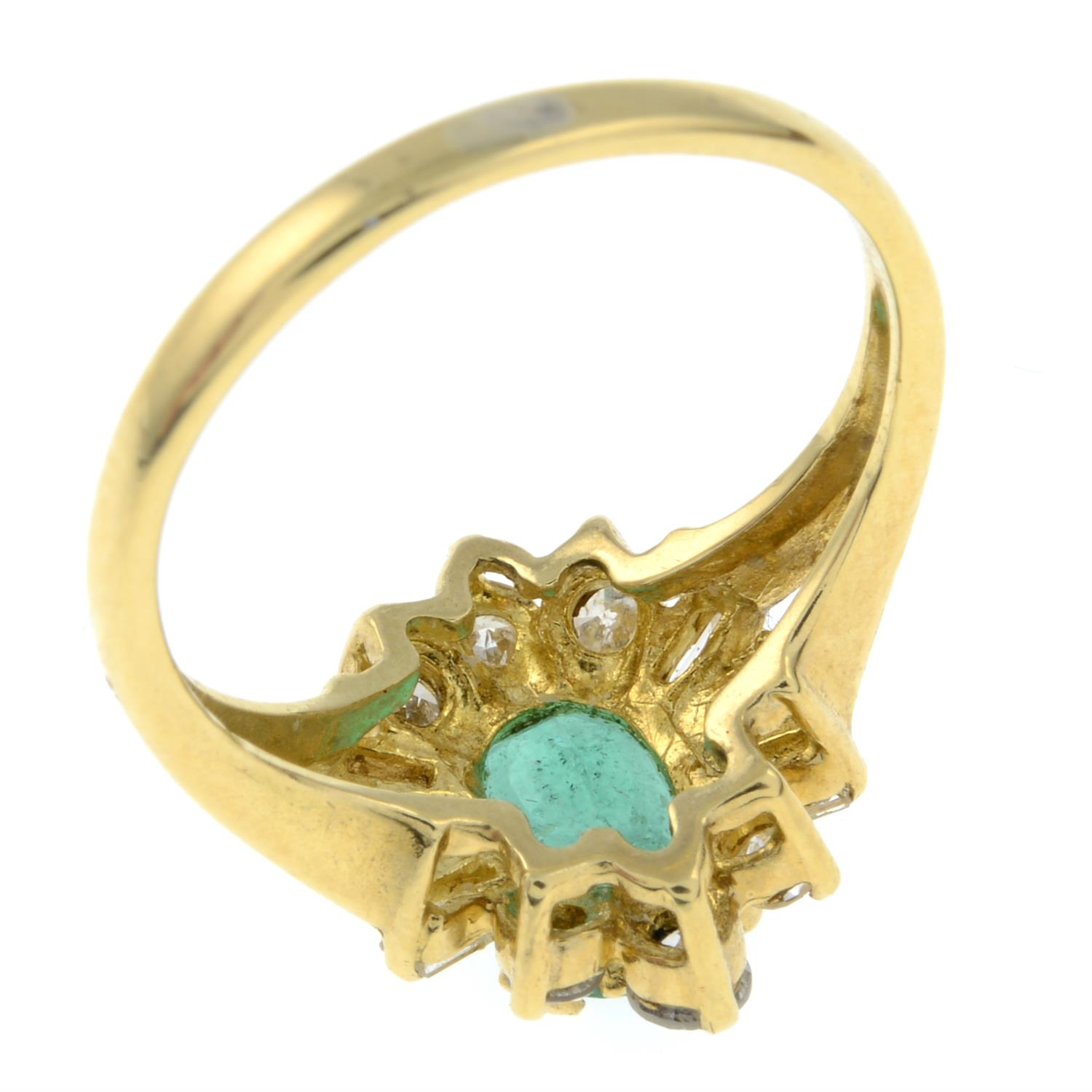 An 18ct gold emerald and vari-cut diamond cluster ring. - Image 3 of 3