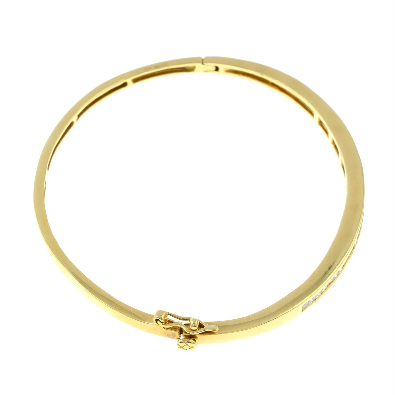 An 18ct gold square-shape diamond hinged bangle. - Image 2 of 3