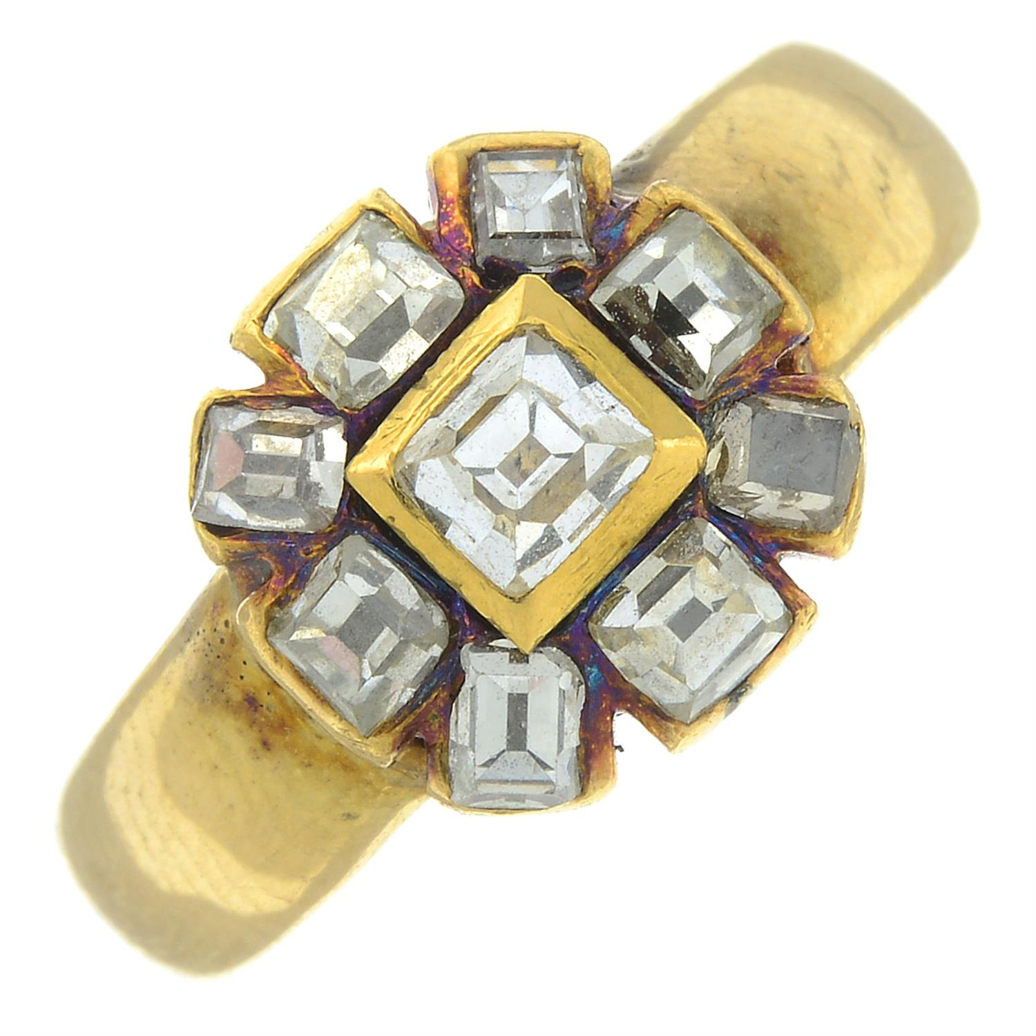 A square-shape diamond cluster ring.