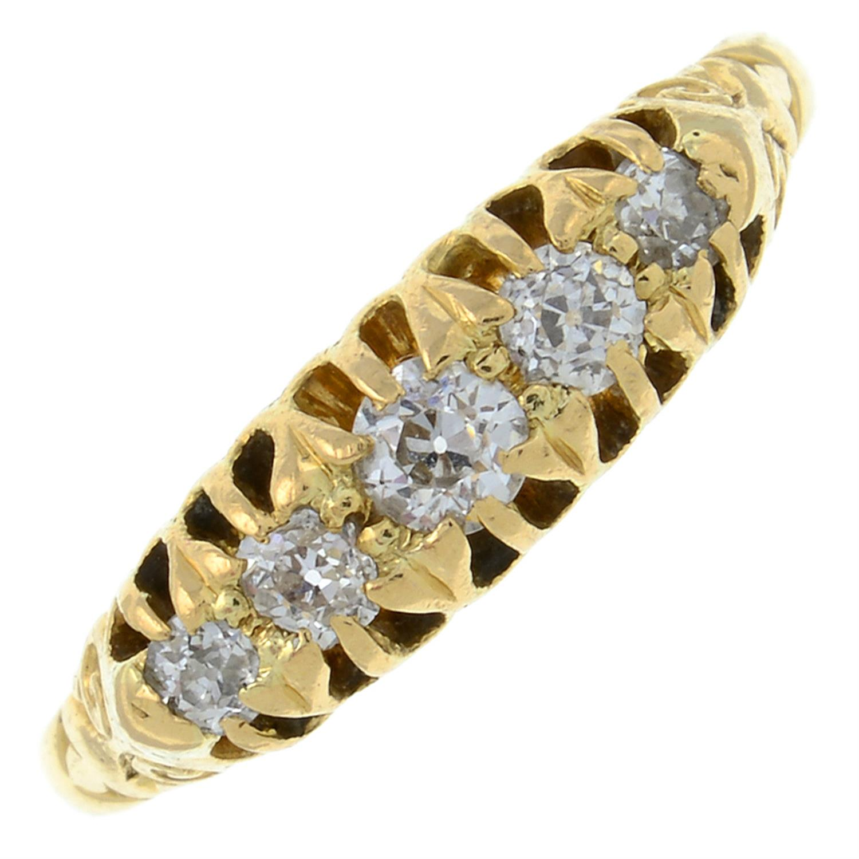 An Edwardian circular-cut diamond five-stone ring.