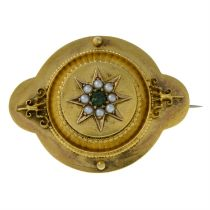 A late 19th century gold split pearl and emerald brooch.