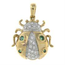A 9ct gold emerald and brilliant-cut diamond ladybird pendant.