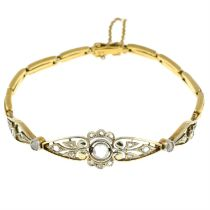 An early 20th century 18ct gold rose-cut diamond bracelet.