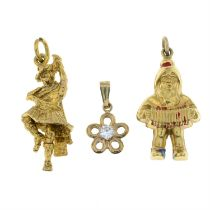 Four 9ct gold pendants together with two further gem-set pendants.